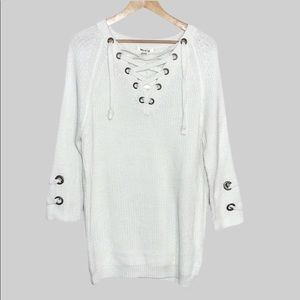 Miracle Sweater Lace-Up Tunic Sweater Size S/M